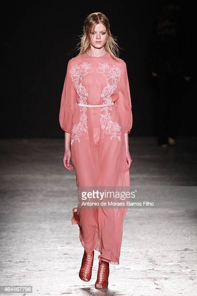 A model walks the runway at the Francesco Scognamiglio show during the Milan Fashion Week Autumn/Winter 2015 on February 25 2015 in Milan Italy