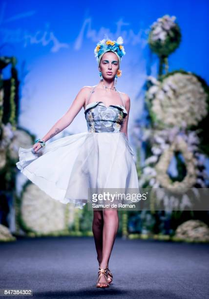 A model walks the runway at the Francis Montesinos show during the MercedesBenz Fashion Week Madrid Spring/Summer 2018 at Ifema on September 15 2017...