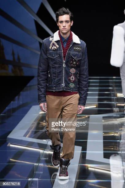 A model walks the runway at the Frankie Morello show during Milan Men's Fashion Week Fall/Winter 2018/19 on January 15 2018 in Milan Italy