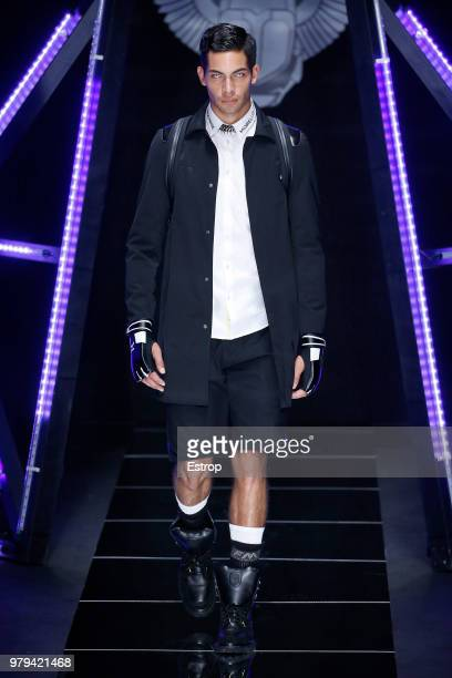 A model walks the runway at the Frankie Morello show during Milan Men's Fashion Week Spring/Summer 2019 on June 18 2018 in Milan Italy