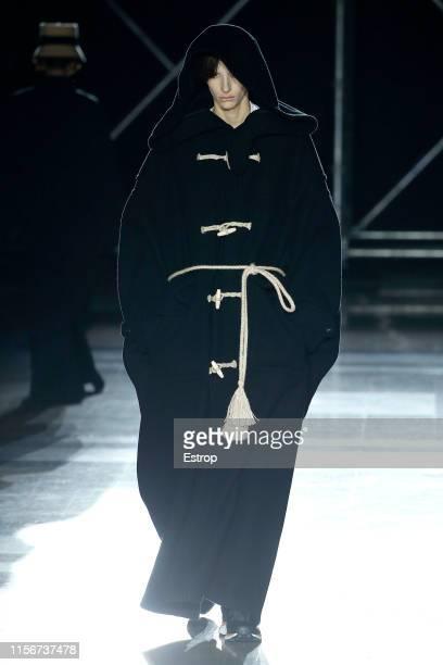 Model walks the runway at the Fumito Ganryu fashion show during Paris Men's Fashion Week Spring/Summer 2020 on June 18, 2019 in Paris, France.