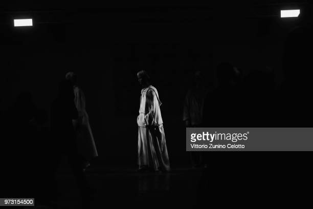 Model walks the runway at the Fumito Ganryu fashion show during the 94th Pitti Immagine Uomo on June 13, 2018 in Florence, Italy.