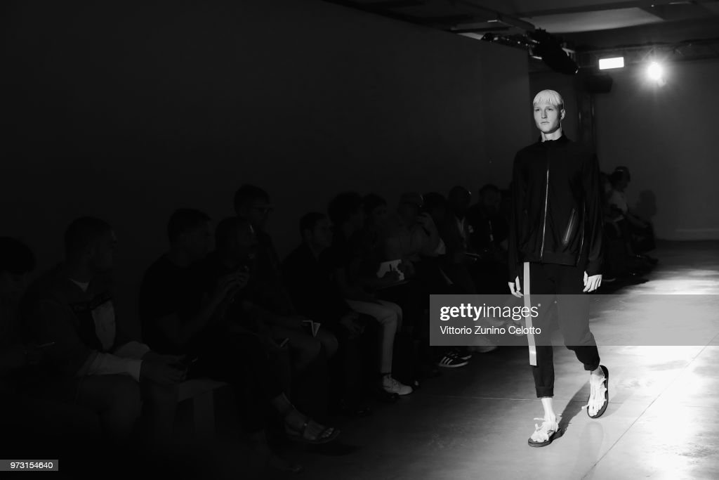 A model walks the runway at the Fumito Ganryu fashion show during the 94th Pitti Immagine Uomo on June 13, 2018 in Florence, Italy.