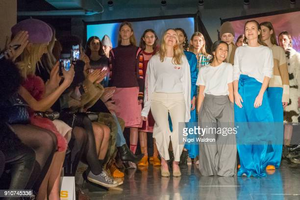 A model walks the runway at the FWSS show during the Fashion Week Oslo 2018 at Nedre Slottsgate on January 26 2018 in Oslo Norway