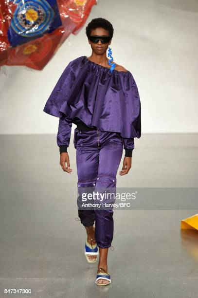 A model walks the runway at the FYODOR GOLAN show during London Fashion Week September 2017 on September 15 2017 in London England
