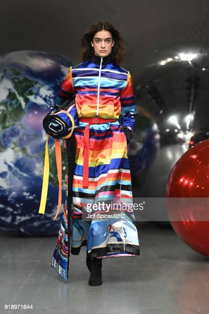Model walks the runway at the FYODOR GOLAN show during London Fashion Week February 2018 at BFC Show Space on February 16, 2018 in London, England.
