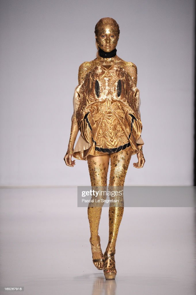 A model walks the runway at the Fyodor Golan show during Mercedes-Benz Fashion Week Russia Fall/Winter 2013/2014 at Manege on April 2, 2013 in Moscow, Russia.