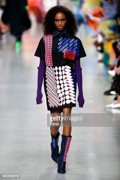 A model walks the runway at the FYODOR GOLAN show during the London Fashion Week February 2017 collections on February 17 2017 in London England