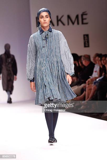A model walks the runway at the GABA show at Lakme India Fashion Week Autumn/Winter 2009 at Grand Hyatt on March 29 2009 in Bombay India