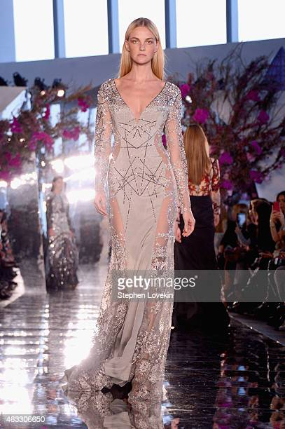 A model walks the runway at the Gabriela Cadena fashion show during MercedesBenz Fashion Week Fall 2015 on February 12 2015 in New York City