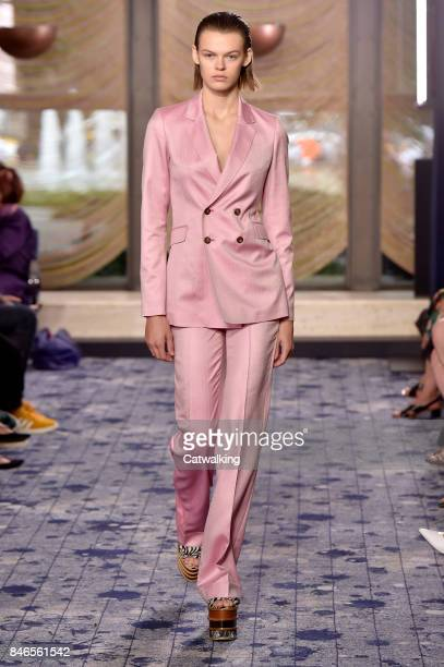 A model walks the runway at the Gabriela Hearst Spring Summer 2018 fashion show during New York Fashion Week on September 12 2017 in New York United...