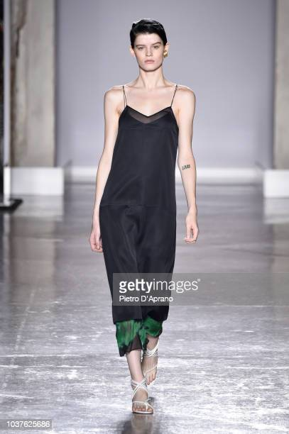 A model fashion detail walks the runway at the Gabriele Colangelo show during Milan Fashion Week Spring/Summer 2019 on September 22 2018 in Milan...