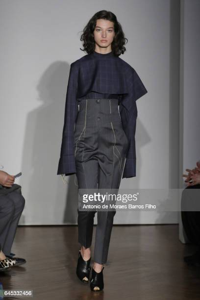 Model walks the runway at the Gabriele Colangelo show during Milan Fashion Week Fall/Winter 2017/18 on February 25, 2017 in Milan, Italy.