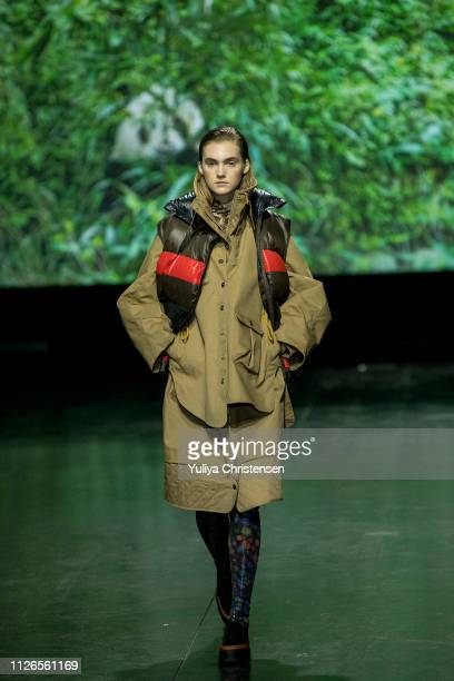 A model walks the runway at the GANNI show during the Copenhagen Fashion Week Autumn/Winter 2019 on January 31 2019 in Copenhagen Denmark
