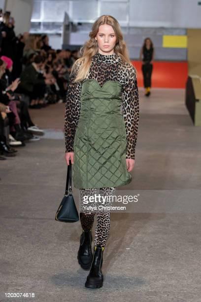 A model walks the runway at the GANNI show during the Copenhagen Fashion Week Autumn/Winter 2020 on January 30 2020 in Copenhagen Denmark