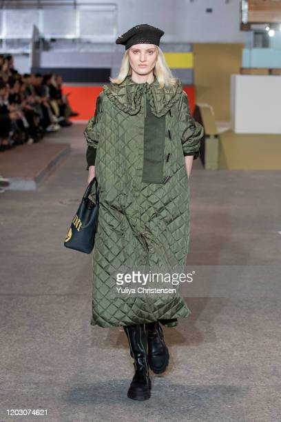 Model walks the runway at the GANNI show during the Copenhagen Fashion Week Autumn/Winter 2020 on January 30, 2020 in Copenhagen, Denmark.