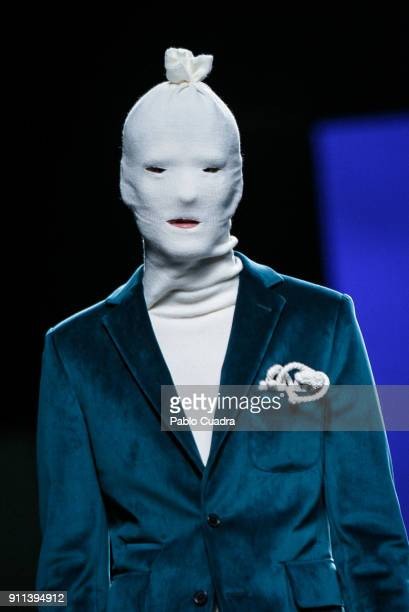 A model walks the runway at the Garcia Madrid show during the MercedesBenz Madrid Fashion Week Autumn/Winter 2018 at Ifema on January 28 2018 in...