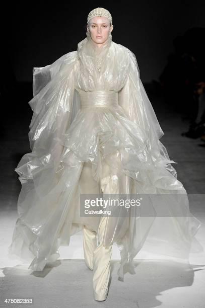 Model walks the runway at the Gareth Pugh Autumn Winter 2014 fashion show during Paris Fashion Week on February 26, 2014 in Paris, France.