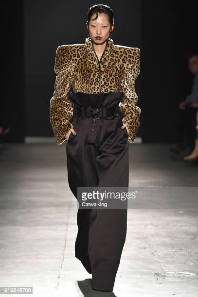 Model walks the runway at the Gareth Pugh Autumn Winter 2018 fashion show during London Fashion Week on February 17, 2018 in London, United Kingdom.