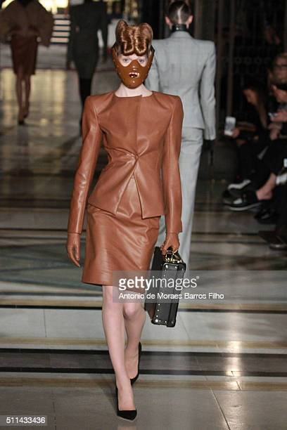 A model walks the runway at the Gareth Pugh show during London Fashion Week Autumn/Winter 2016/17 at Freemasons' Hall on February 20 2016 in London...