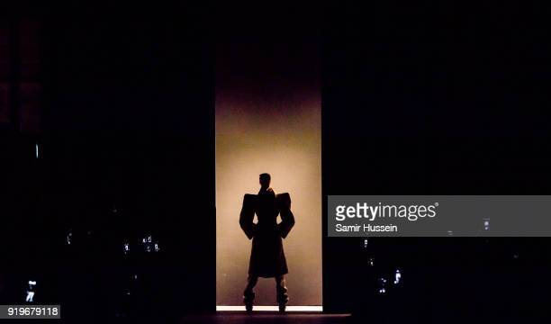 Model walks the runway at the Gareth Pugh show during London Fashion Week February 2018 at Ambika P3 on February 17, 2018 in London, England.