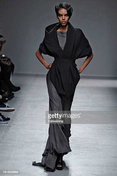 A model walks the runway at the Gareth Pugh Spring Summer 2014 fashion show during Paris Fashion Week on September 25 2013 in Paris France