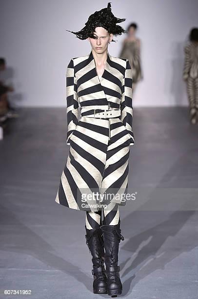 Model walks the runway at the Gareth Pugh Spring Summer 2017 fashion show during London Fashion Week on September 17, 2016 in London, United Kingdom.