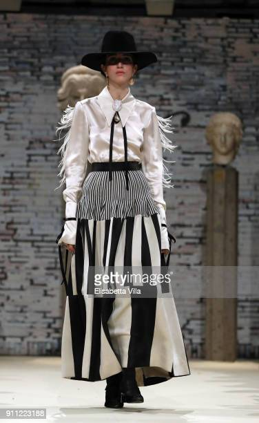 A model walks the runway at the Gattinoni show during Altaroma on January 27 2018 in Rome Italy