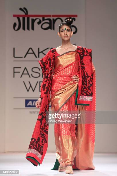 A model walks the runway at the Gaurang Shah show at The Lakme Fashion Week Winter/Festive 2012 day 3 at the Grand Hyatt on August 5 2012 in Mumbai...