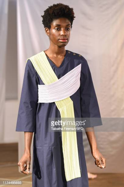 A model walks the runway at the Gayeon Lee show during London Fashion Week September 2019 at Foyles on September 13 2019 in London England