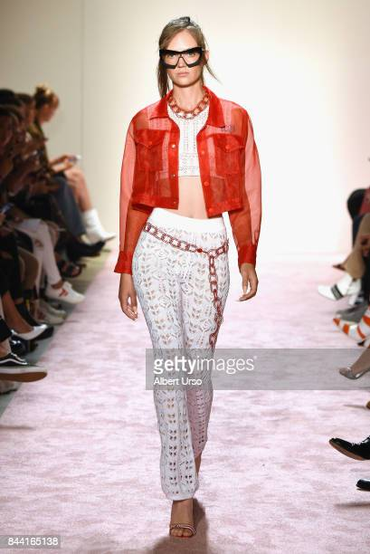 A model walks the runway at the GCDS fashion show during New York Fashion Week The Shows at Gallery 2 Skylight Clarkson Sq on September 8 2017 in New...