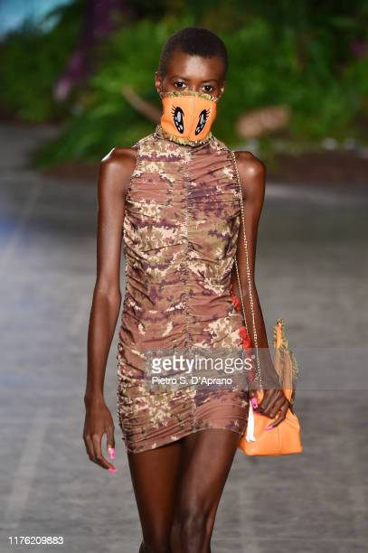 Model walks the runway at the GCDS show during the Milan Fashion Week Spring/Summer 2020 on September 21, 2019 in Milan, Italy.