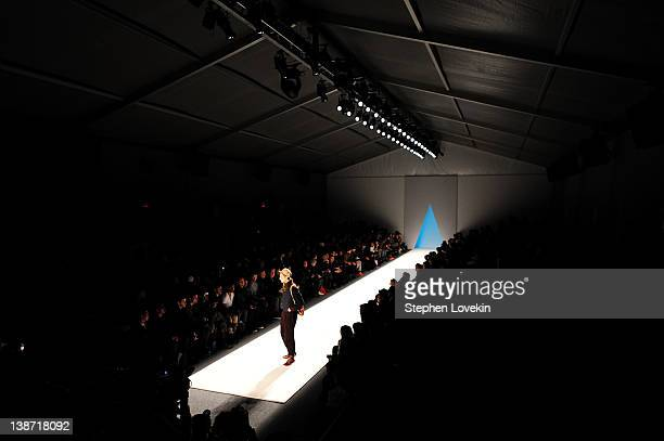 A model walks the runway at the General Idea Fall 2012 fashion show during MercedesBenz Fashion Week at Lincoln Center for the Performing Arts on...