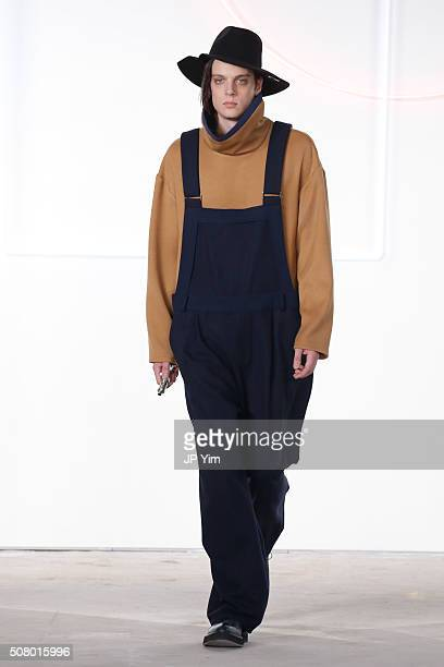 A model walks the runway at the General Idea Fall/Winter 2016 Collection during NYFW Mens Fall/Winter 2016 at Skylight at Clarkson Sq on February 2...