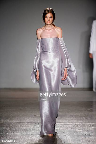 A model walks the runway at the Genny designed by Sara Cavazza show Milan Fashion Week Spring/Summer 2017 on September 22 2016 in Milan Italy