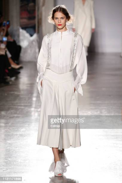 Model walks the runway at the Genny show at Milan Fashion Week Autumn/Winter 2019/20 on February 20, 2019 in Milan, Italy.