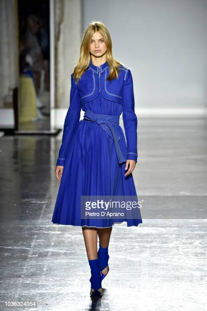 A model walks the runway at the Genny show during Milan Fashion Week Spring/Summer 2019 on September 20 2018 in Milan Italy