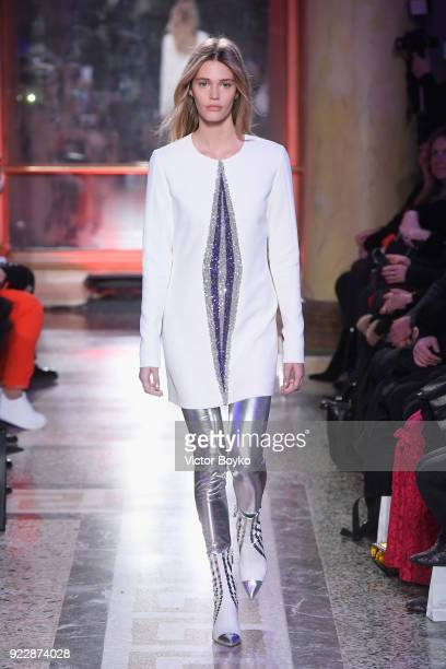 A model walks the runway at the Genny show during Milan Fashion Week Fall/Winter 2018/19 on February 22 2018 in Milan Italy