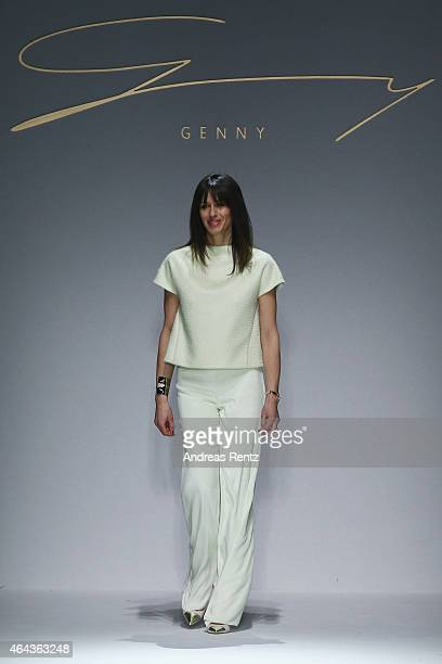 A model walks the runway at the Genny show during the Milan Fashion Week Autumn/Winter 2015 on February 25 2015 in Milan Italy