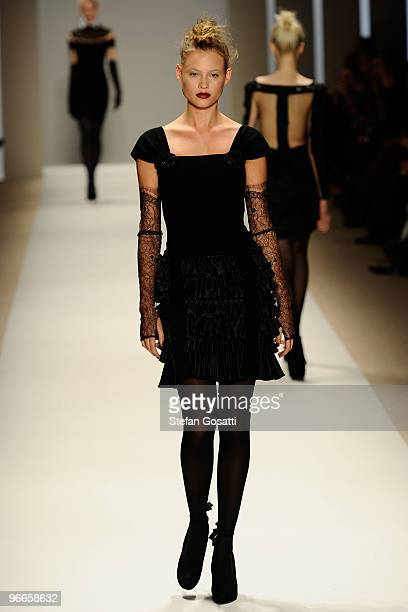 A model walks the runway at the Georges Chakra Fall 2010 Fashion Show during MercedesBenz Fashion Week at The Promenade at Bryant Park on February 13...