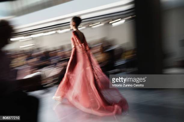 A model walks the runway at the Georges Chakra Haute Couture Fall/Winter 20172018 show as part of Haute Couture Paris Fashion Week on July 4 2017 in...