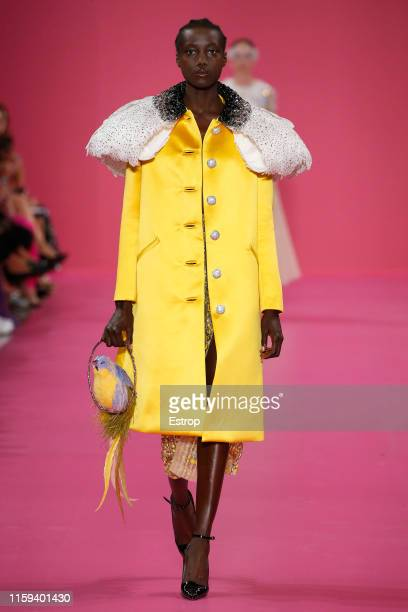 Model walks the runway at the Georges Hobeika show during Paris Haute Couture Fall/Winter 2019/2020 on July 1, 2019 in Paris, France.