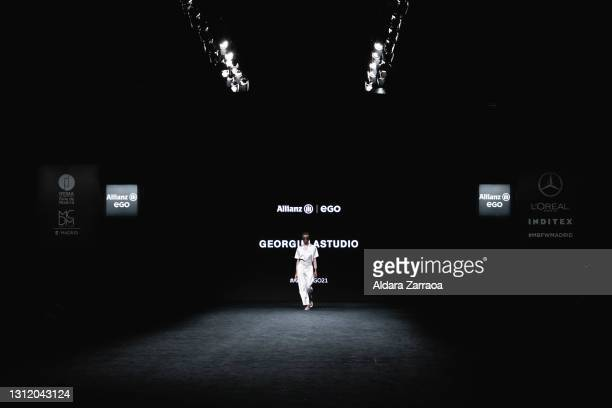 Model walks the runway at the Georgiela Studio fashion show during Samsung EGO Mercedes Benz Fashion Week Madrid April 2021 at Ifema on April 11,...