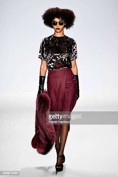 A model walks the runway at the Georgine fashion show during MercedesBenz Fashion Week Fall 2015 at The Salon at Lincoln Center on February 17 2015...
