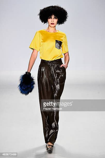 Model walks the runway at the Georgine fashion show during Mercedes-Benz Fashion Week Fall 2015 at The Salon at Lincoln Center on February 17, 2015...