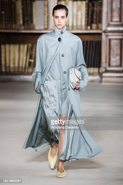 Model walks the runway at the Giada fashion show during the Milan Fashion Week - Spring / Summer 2022 on September 22, 2021 in Milan, Italy.