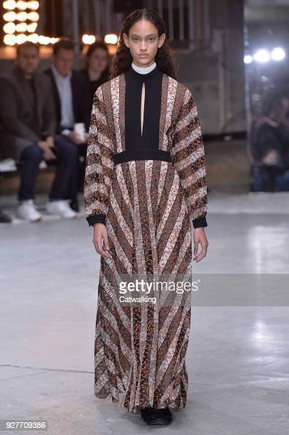A model walks the runway at the Giambattista Valli Autumn Winter 2018 fashion show during Paris Fashion Week on March 5 2018 in Paris France