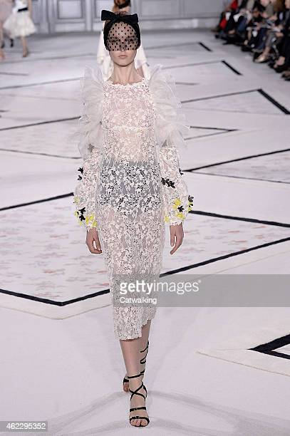 A model walks the runway at the Giambattista Valli Spring Summer 2015 fashion show during Paris Haute Couture Fashion Week on January 26 2015 in...