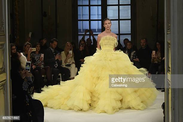A model walks the runway at the Giambattista Valli Spring Summer 2017 fashion show during Paris Haute Couture Fashion Week on January 23 2017 in...