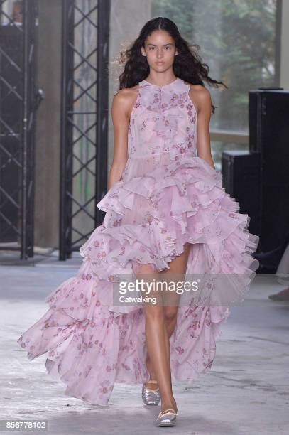 A model walks the runway at the Giambattista Valli Spring Summer 2018 fashion show during Paris Fashion Week on October 2 2017 in Paris France